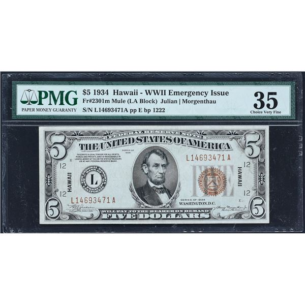 Fr. 2301m  $5  1934 Mule Hawaii Federal Reserve Note  PMG Choice Very Fine 35