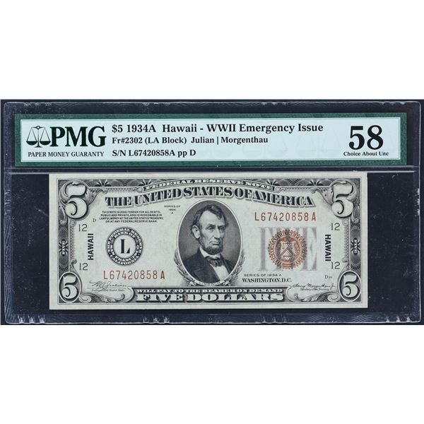 Fr. 2302  $5  1934A  Hawaii Federal Reserve Note  PMG Choice About Unc 58