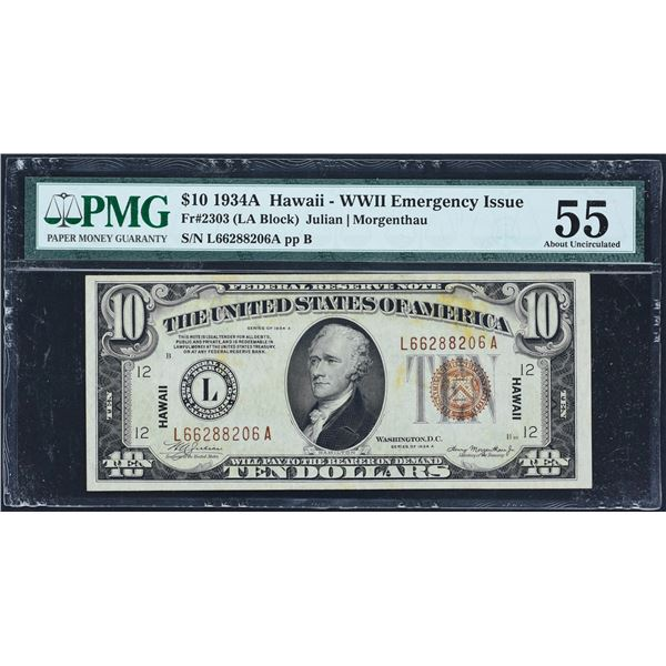 Fr. 2303  $10  1934A  Hawaii Federal Reserve Note  PMG About Uncirculated 55