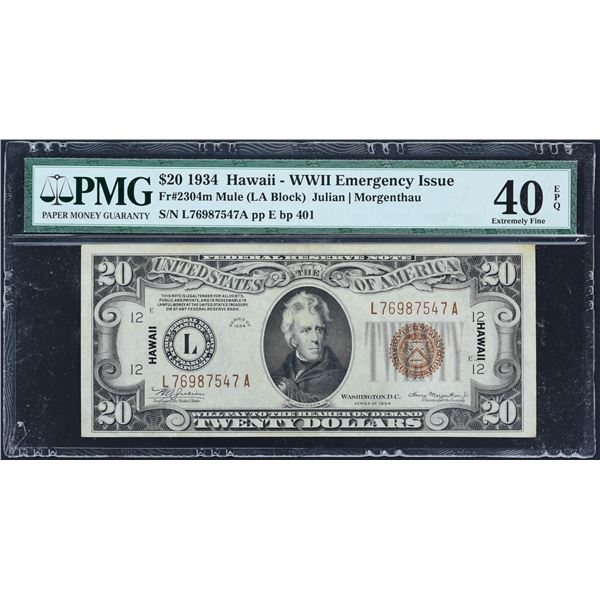 Fr. 2304m  $20  1934  Hawaii  Federal Reserve Note  PMG Extremely Fine 40 EPQ