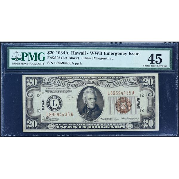 Fr. 2305  $20  1934A  Hawaii  Federal Reserve Note  PMG Choice Extremely Fine 45
