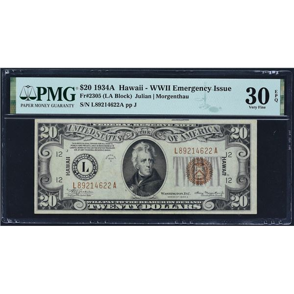 Fr. 2305  $20  1934A  Hawaii Federal Reserve Note  PMG Very Fine 30 EPQ