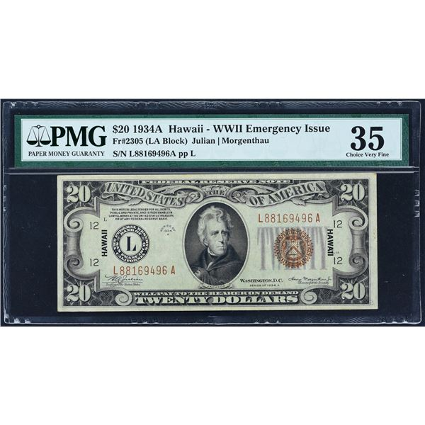 Fr. 2305  $20  1934A  Hawaii Federal Reserve Note  PMG Choice Very Fine 35