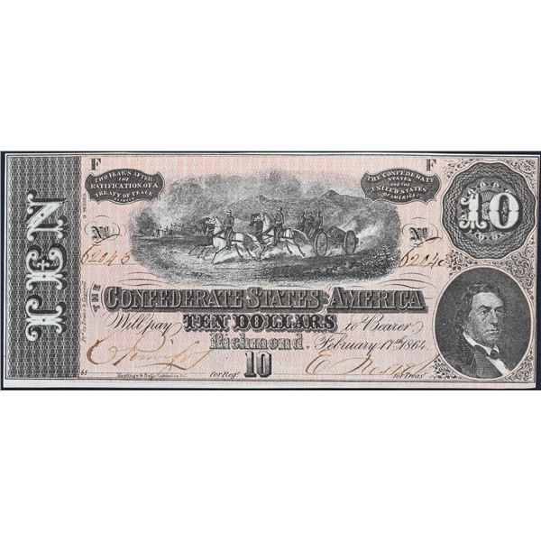 T68  $10  1864  Confederate States of America  PMG Choice Uncirculated 64 CUTOUT