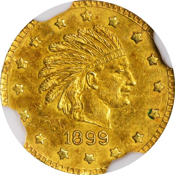Alaska Gold, 1/2 Pinch Round, Indian Head r., dated 1899. GB 120. Choice Brilliant Uncirculated, ver