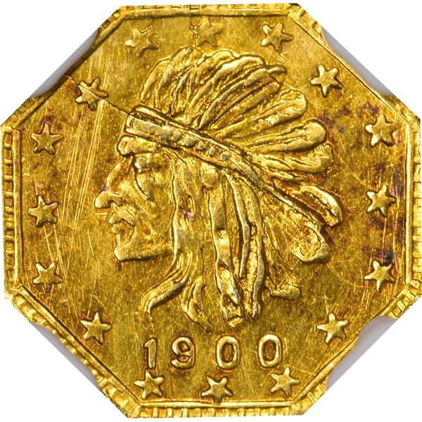 Alaska Gold, 1/2 Pinch Octagonal, Indian Head l., dated 1900. GB 144. Very choice Brilliant Uncircul