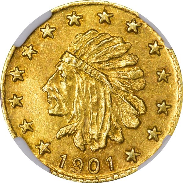 Alaska Gold, 1/4 Pinch Round, Indian Head l., 14 stars around, very small letters, dated 1901. GB 12