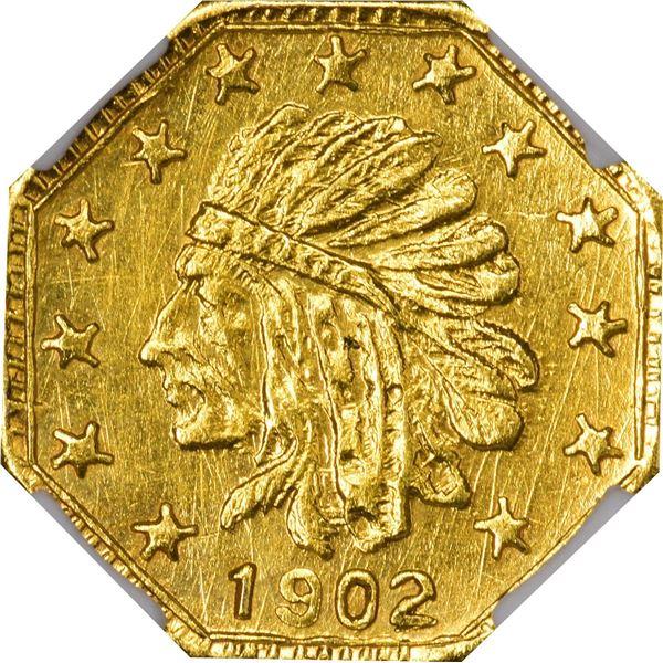 Alaska Gold, 1/4 Pinch Octagonal, Indian Head l., dated 1902. GB 151. Very Choice Brilliant Uncircul