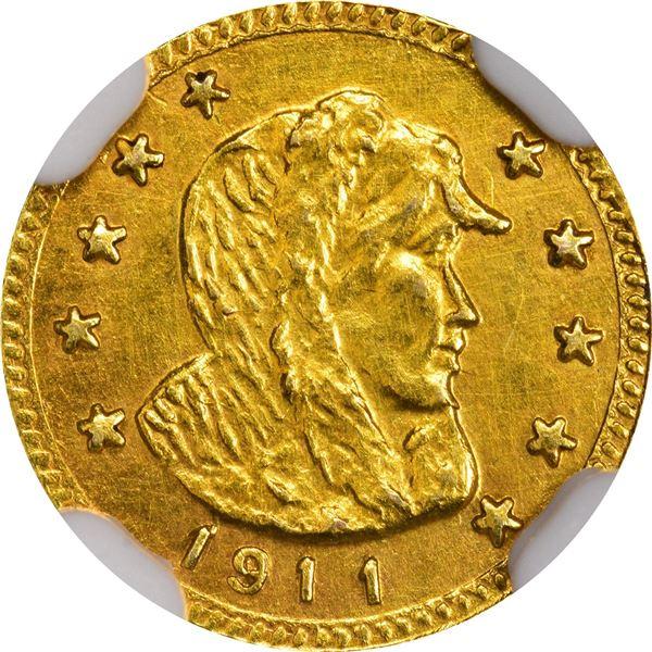 "Alaska Gold, ""1/2"" Round, Parka Head r., dated 1911. GB 176. Choice Brilliant Uncirculated, untoned."