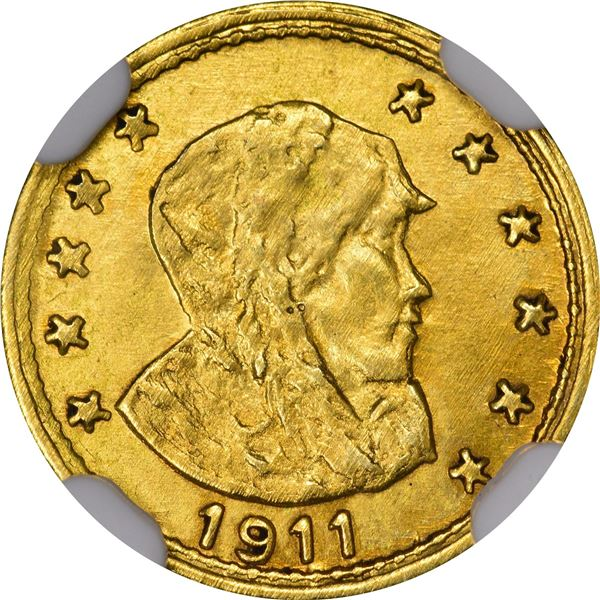 "Alaska Gold, ""ONE"" Round, Parka Head r., 11 stars, dated 1911. HK-851, GB 173. Frosty Very Choice Br"