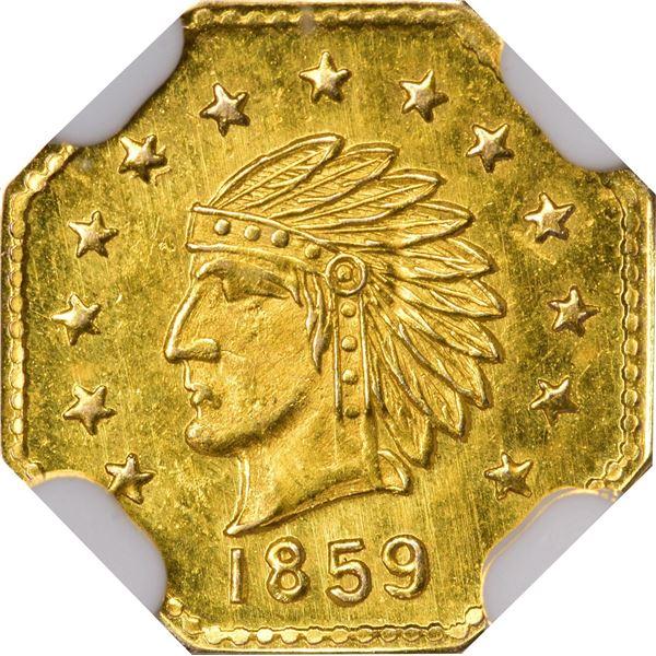 California Gold token 1/2 Octagonal, dated 1859, Indian Head l.; bear. Exquisite detail! Extra Gem B