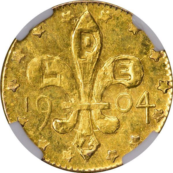 Farran Zerbe-Issued Louisiana Purchase Exposition 1/4 Louisiana Gold, 1904, 14 stars. Flashy Uncircu