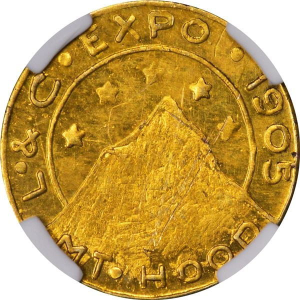 """Oregon Gold, """"1/4"""" - Lewis & Clark Exposition 1905, Mt. Hood. Flashy and Prooflike, some light scrat"""