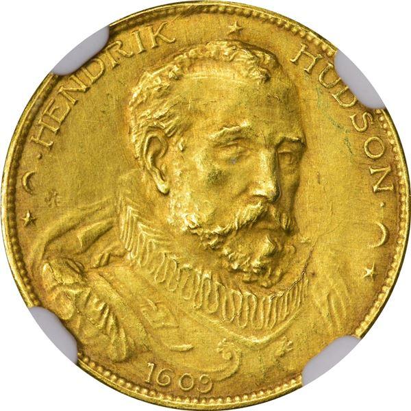 So-Called Dollar, HK-371. Hendrik Hudson gold 1 Daalder MCMIX. Medallic, Uncirculated. NGC MS 61.