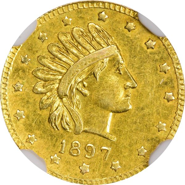 Alaska, ONE Pinch Round, Indian Head r., 16 stars, dated 1897. So-Called Dollar HK-838; Gould-Bresse