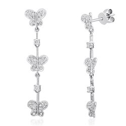 18k White Gold 0.60 ctw Diamond Earrings, (I1-I2/H-I)