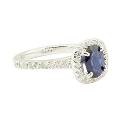 1.94 ctw Oval Brilliant Blue Sapphire And Diamond Ring - 14KT White Gold