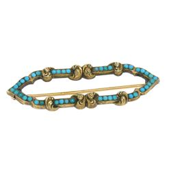 14k Yellow Gold Persian Turquoise Open Marquise Brooch Pin