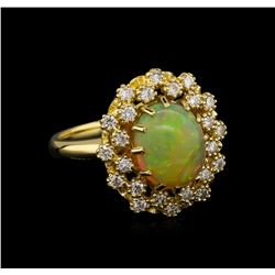 2.65 ctw Opal and Diamond Ring - 14KT Yellow Gold