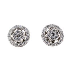 0.59 ctw Diamond Earrings With Earring Jackets - 14KT White Gold