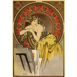 Alphonse Mucha - Girl With Easel