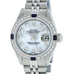 Rolex Ladies Stainless Steel Mother Of Pearl Diamond & Sapphire Datejust Wristwa