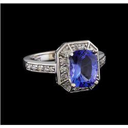 2.12 ctw Tanzanite and Diamond Ring - 14KT White Gold