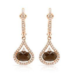 14k Rose Gold 1.94CTW Diamond and Smokey Quartz Earrings, (I1/I)