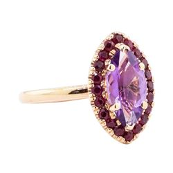 1.40 ctw Amethyst and Ruby Ring - 14KT Rose Gold