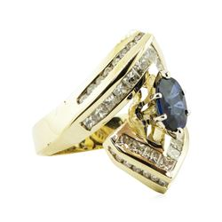 3.16 ctw Oval Brilliant Blue Sapphire And Diamond Ring - 14KT Yellow Gold