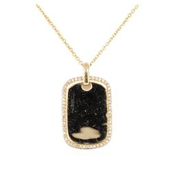 0.20 ctw Diamond Dog Tag Pendant with Chain - 14KT Yellow Gold
