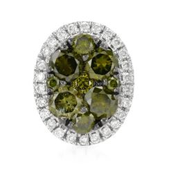 14k White Gold 0.48CTW Diamond and Green Dia Pendant, (SI/H)