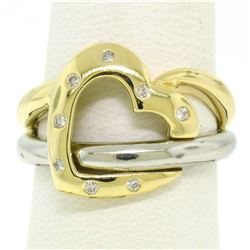 Estate 18k Two Tone Gold 0.12 ctw Round Cut Diamond Open Interlocking Heart Ring