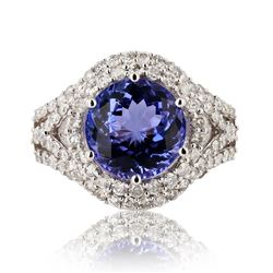 4.18 ctw Tanzanite and 1.07 ctw Diamond 14K White Gold Ring
