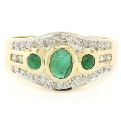 Petite 14K TT Gold 0.68 ctw 3 Cabochon Emerald & Diamond Accented Cocktail Ring