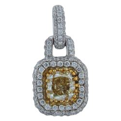 18k White Gold 1.21CTW Diamond Pendant, (VS1/G/Fancy Yellow)
