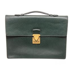 Louis Vuitton Green Taiga Leather Serviette Kourad Briefcase Bag