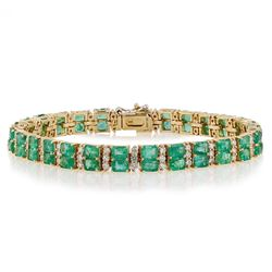 12.25 ctw Emerald and 2.20 ctw Diamond 14K Yellow Gold Bracelet