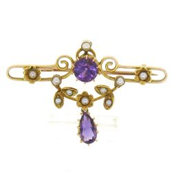 Victorian 15kt Yellow Gold Old Cut Amethyst and Seed Pearl Brooch or Pendant