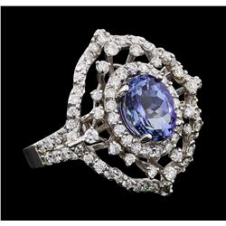 2.46 ctw Tanzanite and Diamond Ring - 14KT White Gold