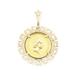 1/10th British Sovereign Coin Pendant - 14KT - 24KT Yellow Gold