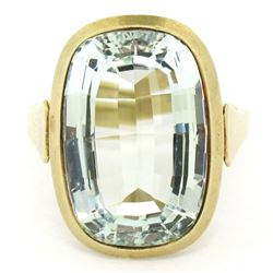 Antique 14kt Yellow Gold 8.57 ctw GIA Certified Oval Aquamarine Solitaire Ring