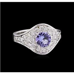 0.90 ctw Tanzanite and Diamond Ring - 14KT White Gold