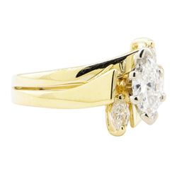 0.57 ctw Diamond Wedding Ring Soldered To Band - 14KT Yellow Gold