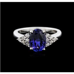 14KT White Gold 2.26 ctw Tanzanite and Diamond Ring