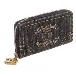 Chanel Sparkling Denim CC Coin Case Card Wallet
