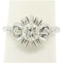 Vintage Platinum 0.68 ctw Round Transitional Diamond Solitaire Ring