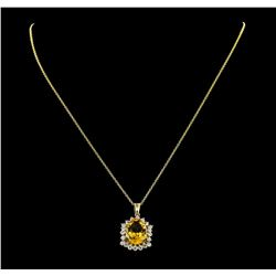 4.82 ctw Citrine Quartz and Diamond Pendant With Chain - 14KT Yellow Gold