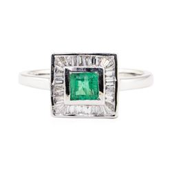0.41 ctw Emerald and Diamond Ring - 18KT White Gold