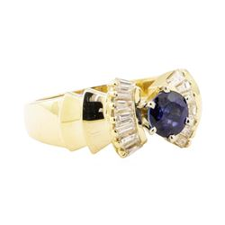 1.47 ctw Blue Sapphire And Diamond Ring - 14KT Yellow Gold